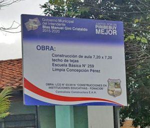 Mejoras en escuelas de Piribebuy